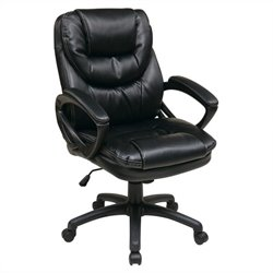 Pemberly Row Faux Leather Managers Office Chair in Black