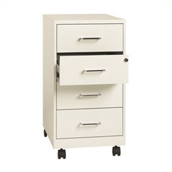 Pemberly Row 4 Drawer Steel File Cabinet in Pearl White