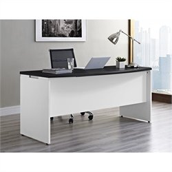 Pemberly Row Executive Office Desk in White and Gray