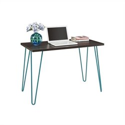 Pemberly Row Desk in Espresso with Teal Metal Legs