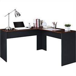 Pemberly Row L Shaped Desk in Cherry and Slate Gray
