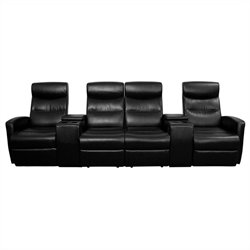 Pemberly Row 4 Seat Home Theater Recliner in Black