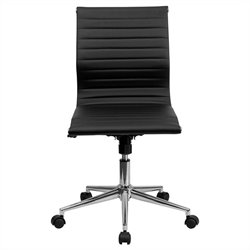 Pemberly Row Armless Upholstered Office Chair in Black