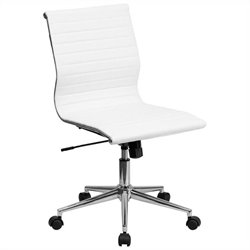 Pemberly Row Armless Upholstered Office Chair in White