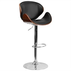 Pemberly Row Adjustable Bar Stool with Curved Seat in Walnut
