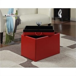 Pemberly Row Accent Storage Ottoman - Red