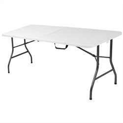 Pemberly Row 6' Metal Center Folding Table in White