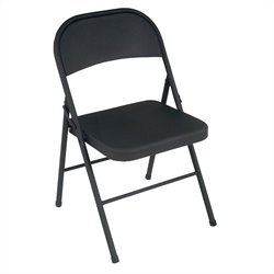 Pemberly Row All Steel Folding Chair in Black (4-pack)