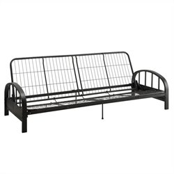Pemberly Row Convertible Futon Sofa Frame in Black
