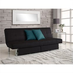 Pemberly Row Convertible Sofa with Storage in Black Microfiber