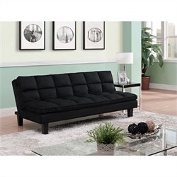 Pemberly Row Pillow-Top Convertible Futon Sofa in Black