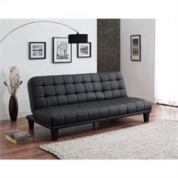 Pemberly Row Faux Leather Convertible Sofa in Black