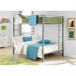 Pemberly Row Metal Full over Full Bunk Bed in Silver