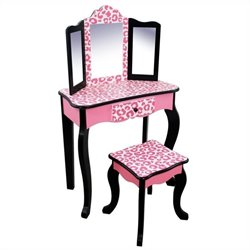 Pemberly Row Vanity Table and Stool Set in Black and Pink Leopard