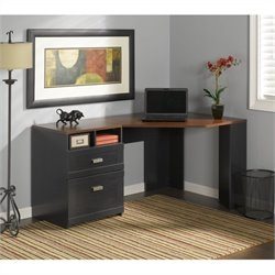 Pemberly Row Corner Computer Desk in Antique Black