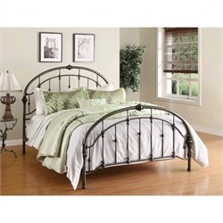 Pemberly Row Queen Metal Bed in Antique Pewter