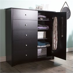 Pemberly Row Door Chest with 5 Drawers in Pure Black
