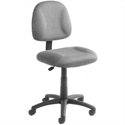 Pemberly Row Adjustable DX Fabric Posture Office Chair in Gray