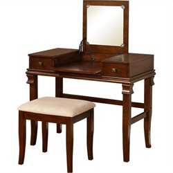 Pemberly Row Vanity Set in Walnut (2 Pieces)