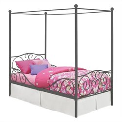 Pemberly Row Canopy Twin Metal Bed in Pewter