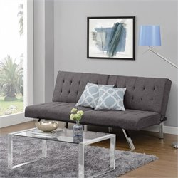 Pemberly Row Linen Convertible Futon Sofa in Gray