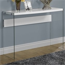 Pemberly Row Sofa Table in Glossy White with Tempered Glass