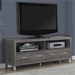Pemberly Row TV Console in Dark Taupe with Drawers