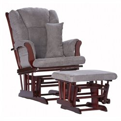 Pemberly Row Custom Glider and Ottoman in Cherry and Grey