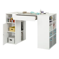 Pemberly Row Storage Counter Height Craft Table in White