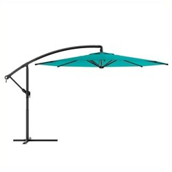 Pemberly Row Offset Patio Umbrella in Turquoise Blue