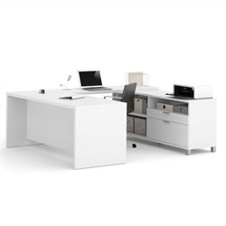 Pemberly Row U-Desk in White