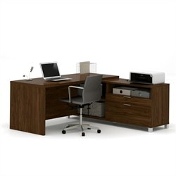 Pemberly Row L-Desk in Oak Barrel