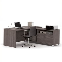 Pemberly Row L Shape Desk in Bark Grey