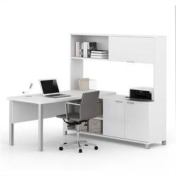 Pemberly Row L-Desk with Hutch in White