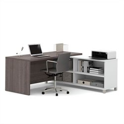Pemberly Row L-Desk in White and Bark Grey