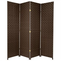 Pemberly Row All Weather Outdoor 4 Panel Room Divider in Dark Brown