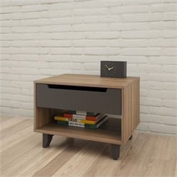 Pemberly Row 1-Drawer Nightstand in Walnut and Charcoal