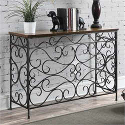 Pemberly Row Metal and Wood Console in Antique Black