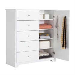 Pemberly Row 5 Drawer Chest in Pure White