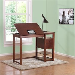 Pemberly Row Counter Height Drawing Table with Storage in Walnut