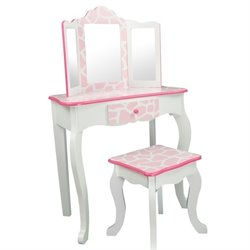 Pemberly Row Vanity Stool Set with Mirror Giraffe in Baby Pink and White