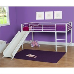 Pemberly Row Metal Twin Loft Slide Bed in White