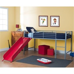 Pemberly Row Metal Twin Loft Slide Bed in Silver and Red