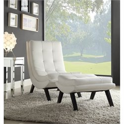 Pemberly Row Faux leather Lounge Chair and Ottoman Set in White