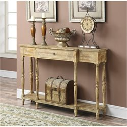 Pemberly Row Weathered Antique Console Table in White