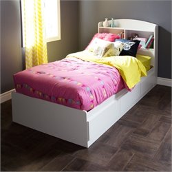 Pemberly Row Wood Twin Mates Bed in White