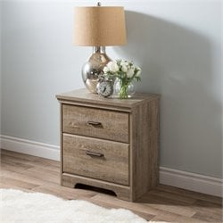 Pemberly Row 2 Drawer Wood Nightstand in Weathered Oak