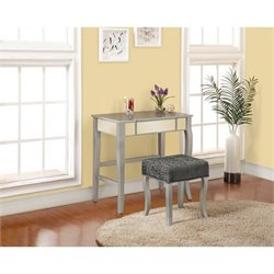 Pemberly Row Bedroom Vanity Set in Silver