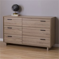 Pemberly Row 6 Drawer Double Dresser in Rustic Oak