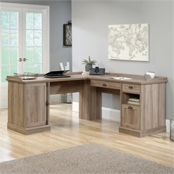 Pemberly Row L Shaped Desk in Salt Oak